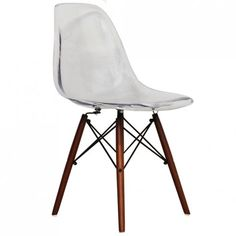 Eames Inspired Clear DSW Style Chair Walnut Legs - Eames Inspired from Only Home UK