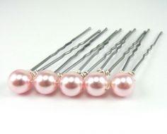 Pink Pearl Hair Pins Swarovski Pearls Set of 5 Pearl Set, Blue Pearl, Formal Hairdos, Light Blue Hair, Gold Blonde, Pearl Hair Pins, Swarovski Pearls, Wedding Hair Accessories, Flowers In Hair