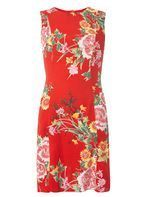 Womens Red Oriental Print Fit And Flare Dress- Red