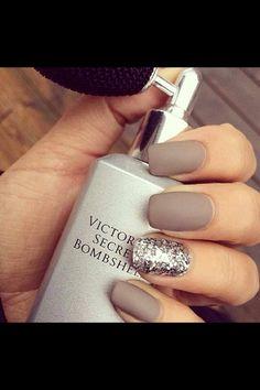 Brown grey Nails