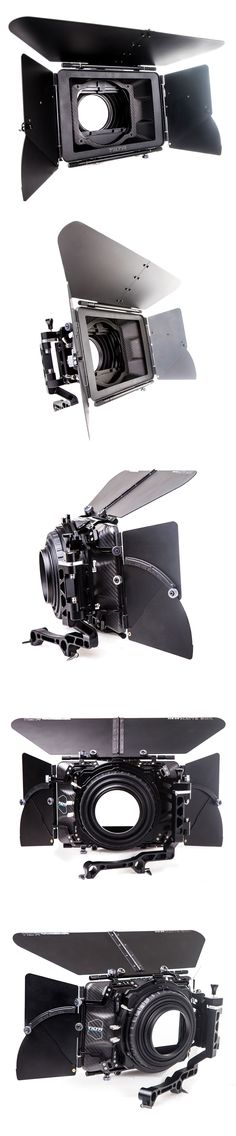 """Tilta's 4 x 5.65 Carbon Fiber Matte Box fits on to 15 and 19mm rod systems making it a perfect, lightweight solution for heavy-duty rigs. The swing-away design of the MB-T04, makes lens changes a breeze, by allowing you to move the matte box out of the way. The two 360° rotating 4 x 5.65"""" filter gives you the option to add graduated or polarizing filters to achieve certain stylized looks. The matte box comes complete with 4 lens adapters, 1 Top Flag, 2 Side Wings and five mattes."""