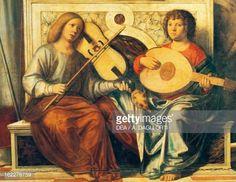 Fine art : Cherubs playing musical instruments, detail from Sacred Conversation, by Giovanni Battista Cima da Conegliano (circa 1459-1517), oil on canvas, 419x213 cm, Italy, 1496-1499