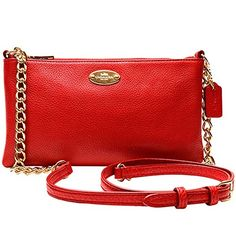 Women's Cross-Body Handbags - Coach Pebbled Leather Quinn Crossbody Bag F52709 Classic Red -- Details can be found by clicking on the image.