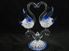 Hand Blown Glass Lace Double Swan on Lace Base Blown Glass Art, Swan, Wine Glass, Sculpture, Lace, Gifts, Swans, Presents, Sculpting