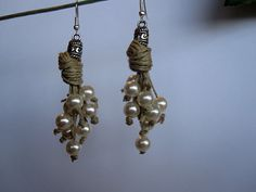 Earrings Linen Eco Chic Thread Knots fantasy Pearl Waterfall Mediterranean White Summer Handmade natural