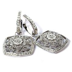 14K White Gold Diamond Filigree Earrings #hudson_poole_jewelers