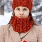 Orange Cable Cowl, Orange Scarf, merino wool scarf, scarf, cable scarf