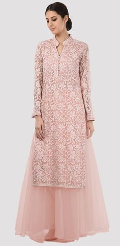 Eid 2017 Collection: Oyster Pink Hand Embroidered Chikankari And Sequin Kurta With Skirt