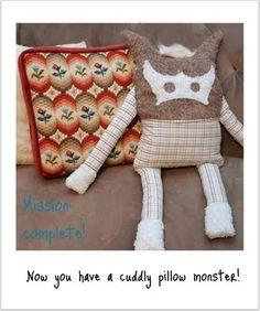 Pillow Monster using an old button down shirt