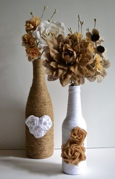 Twine / yarn wrapped wine bottles / Upcycled / Hearts and Roses