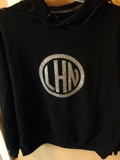 Circle monogram in confetti glitter vinyl for hoodie