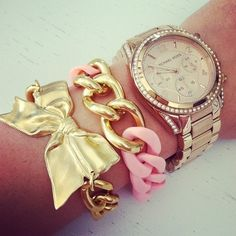 <3 the watch and bow bracelet