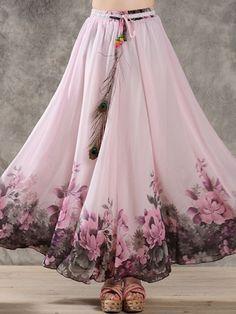 Classical Collarless Chiffon Floral Maxi-dress Maxi Skirts from fashionmia.com