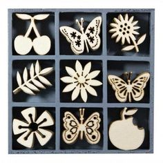 Fruits, Flowers & Butterflies Wooden Shapes Box by Kars - Wooden Embellishments - ONLY £3.75 These laser cut wooden embellishments are fabulous just the way they are, but they can be customized to reflect your own unique style using misting spray, paint, marker, glitter glue, ink pads or alcohol inks.
