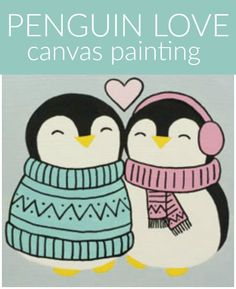 Social Artworking: Penguin Love |These two young penguins couldn't be any cuter! Their hearts are just as warm as their little bodies. This simple-to-paint design will surely be a hit for a Valentine party for kids or tweens and can be displayed throughout the winter months.