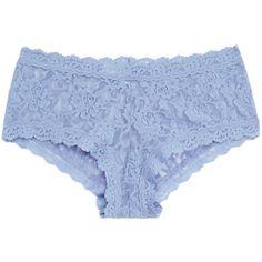 Hanky Panky Chambray Signature Stretch-Lace Boy Shorts ($24) ❤ liked on Polyvore featuring intimates, panties, underwear, blue, hanky panky, seamless boyshorts and hanky panky boyshort