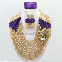>> Click to Buy << Crystal Beads Jewelry Set African Beads Jewelry Sets Nigerian Wedding Bridal Jewelry Set Purple&Champagne HD4194 #Affiliate