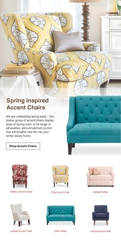 Celebrate spring with your pick of playful accent chairs in a full range of silhouettes and colorful upholstered patterns. #LivingRoomDecor #FurnitureRowStyle