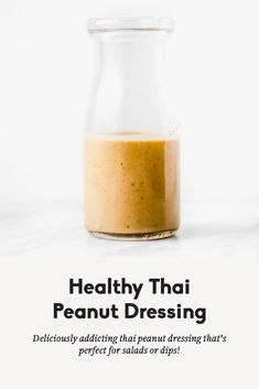 Healthy Thai Peanut Dressing Deliciously addicting, healthy Thai peanut dressing with creamy, peanut butter flavor. You're going to love this easy dressing as a go-to for salads or dips! Peanut Salad Dressings, Healthy Salad Dressings, Healthy Salads, Salad Dressing Healthy, Taco Salads, Healthy Nutrition, Eating Healthy, Homemade Dressing Recipe, Peanut Butter Sauce