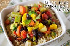 Black Bean Mango Rice Bowl | OAMC from Once A Month Mom #freezermeals #freezercooking #vegetarian