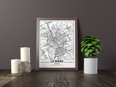 Excited to share the latest addition to my #etsy shop: Le Mans map print, Minimalistic wall art poster, France gifts, Birthday Gift, For father, Father