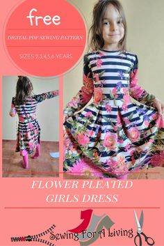 Get this free PDF pattern for a girl's pleated dress. Sew this beautiful dress for a little girl. It comes with detailed cutting and sewing instructions.