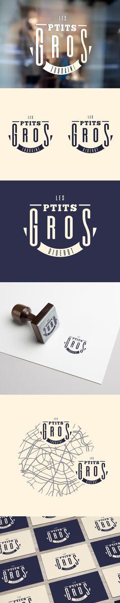 Logo Restaurant Bistro Parisien LES P'TITS GROS - TRUDAINE 9ème - DIDEROT 12ème  / Création graphique WALA studio / Freelance