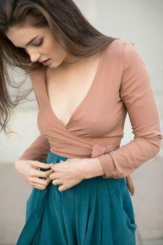 Samuji Tan Lili Shirt & Kieley Kimmel Turquoise Swing Skirt