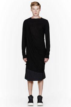 RICK OWENS Black draping oversize t-shirt