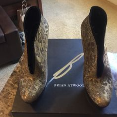 B. Brian Atwood Fortosa Animal Print Bootie Animal Print! Shiny Metallic Color! These are showstoppers! B Brian Atwood Shoes Ankle Boots & Booties