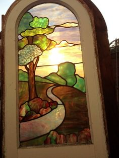 antique vintage arched stained glass arts & crafts  craftsman window