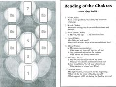 Sample tarot card layout for the chakras.