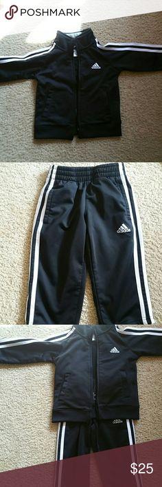 Kids Toddler Adidas Jogging Suit Black White SZ 2T Black and white kids toddler Adidas outfit sz 2T USED LIKE NEW Adidas Matching Sets