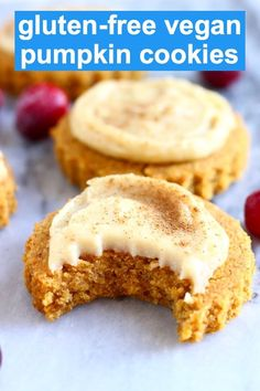 These Gluten-Free Vegan Pumpkin Cookies are soft and chewy, slightly fluffy, fragrantly spiced and covered in a rich, tangy cream cheese frosting. They're the perfect dessert for Thanksgiving and Christmas! Gluten Free Pumpkin Cookies, Pumpkin Sugar Cookies, Pumpkin Dessert, Pumpkin Pumpkin, Dairy Free Cookies, Quick Healthy Desserts, Cookies Healthy, Cookies Vegan, Healthy Bars