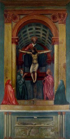 This is The Holy Trinity that was painted by Massaccio in 1425 and completed in 1427