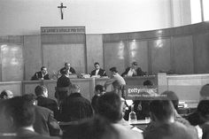 American jazz trumpet player and singer Chet Baker being sued for possession. He's testifying in the Court room in front of the judge and the jury. Lucca 1962