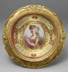 "gilt cabinet plates | 247: A Dresden cabinet plate hand painted with three quarter length portrait of Marie Antoinette and gilt decoration to rim, in a gilt frame. Marked on back ""Dresden Germany"" ""Marie Antoinette."" Framed: 11.25""Dia., Circa - Turn of the century"