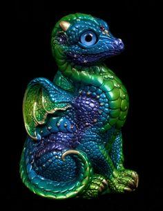 Baby Dragon - Emerald Peacock Painted Fantasy Figurine / Statue $68.00