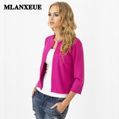 744583e08ab754 Blazers 2019 Solid no-breasted slim blazers suit cardigans no-collar casual  suits women blazers and jackets office