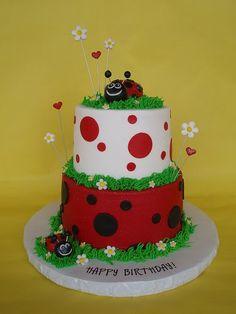 Ladybug Cake - Ladybug Party Food Ideas - Find more Ladybug birthday ideas at http://www.birthdayinabox.com/party-ideas/guides.asp?bgs=139