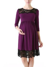 Look at this #zulilyfind! Eggplant Meadow Maternity Dress by MOMO Maternity #zulilyfinds