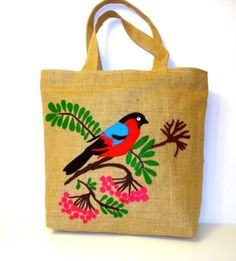 Handmade Jute Tote bag ,OOAK /market bag,hand cut applique, unique artful piece/bird on cherry tree Burlap Tote, Jute Tote Bags, Canvas Tote Bags, Reusable Tote Bags, Hand Applique, Applique Patterns, Hand Embroidery, Embroidery Designs, Summer Tote Bags