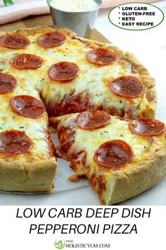 This Keto and Gluten Free Deep Dish Pepperoni Pizza is just amazing! It's loaded with Chicago style layers of pepperoni and cheese. Keto Deep Dish Pepperoni Pizza - A flavorful Chicago Style low-carb pizza loaded with mozzarella and pepperoni! Keto Foods, Ketogenic Recipes, Low Carb Recipes, Diet Recipes, Cooking Recipes, Cheese Recipes, Pizza Recipes, Recipes Dinner, Skillet Recipes