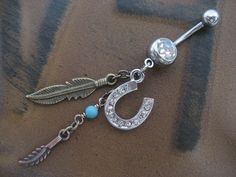Lucky Horseshoe Feather Charm Dangle Belly Button Ring- Turquoise Bronze Horse Shoe South Western Navel Piercing