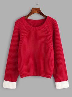#ROMWE - #ROMWE Contrast Cuff Split Back Sweater - AdoreWe.com