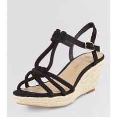 New Look Teens Black Suedette Knot Strap Wedges (£23) ❤ liked on Polyvore featuring shoes, sandals, black, black strappy sandals, wedge sandals, high heel sandals, black wedge sandals and black wedge heel sandals