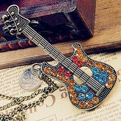 European and American retro sweater chain diamond guitar
