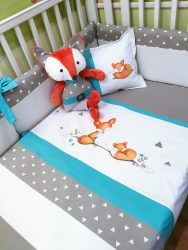 """Literie bébé """"Renard maman et bébé turquoise • La Fée Turquoise, Toddler Bed, Baby, Devon, Furniture, Images, Couture, Home Decor, Google"""
