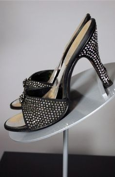 SOLD Black 1950s Springolator mules rhinestones lucite heels size 7 from Viva Vintage Clothing