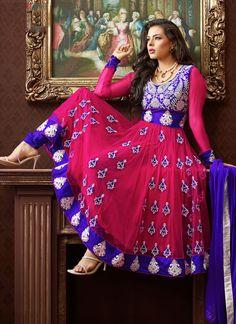 Fuchsia & Royal Blue Net Anarkali Suit.